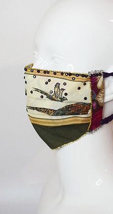 Pheasants Liberty print silk lining glam facemask