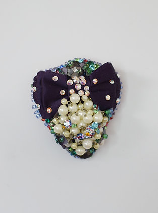 Sparkly crystals, pearls and purple satin bow hairclip /brooch