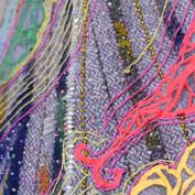Close-up pf cape embroidery.