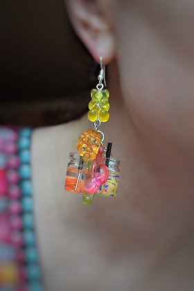Cocktails  fruits and gummy bears fun statement earrings