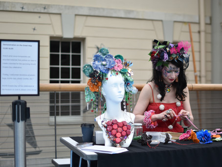 Making headpieces out of rubbish polluting our oceans at National Maritime Museum.