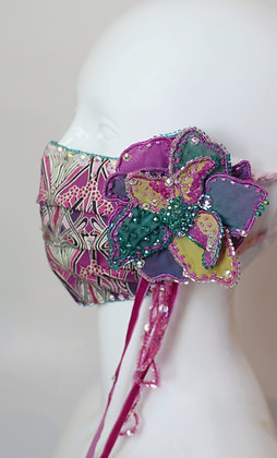 Liberty print facemask with removable flower brooch
