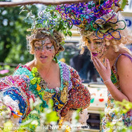 Deborah curtis wore a dress made by Anna from recycled plastic bags whilst enjoying the garden with one of the performers, a student, Anne