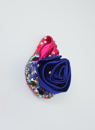 Rainbow crystals blue satin rose hairclip / brooch