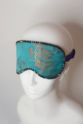 Emerald brocade & silk sleep eye mask Swarovski crystals