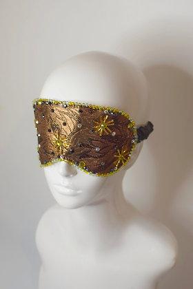 Bronze brocade silk lining sleep eye mask beaded with Swarovski crystals