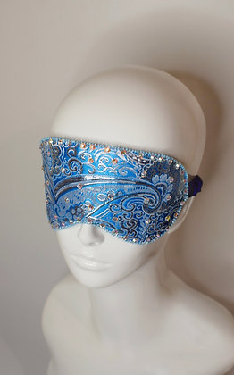 Blue silver brocade and silk sleep eye mask with Swarovski crystals