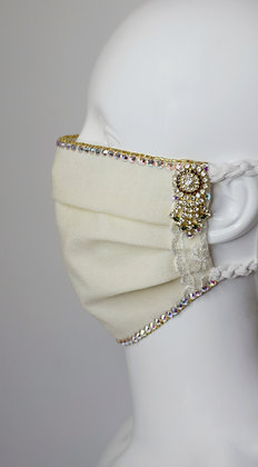 Bridal / glam facemask in cream with earrings and Swarovski crystals