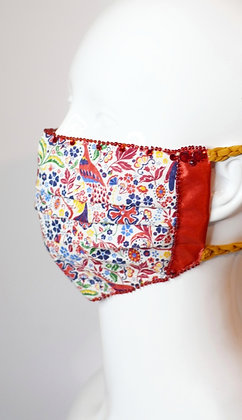 Folk firds and red flowers Liberty print glam facemask