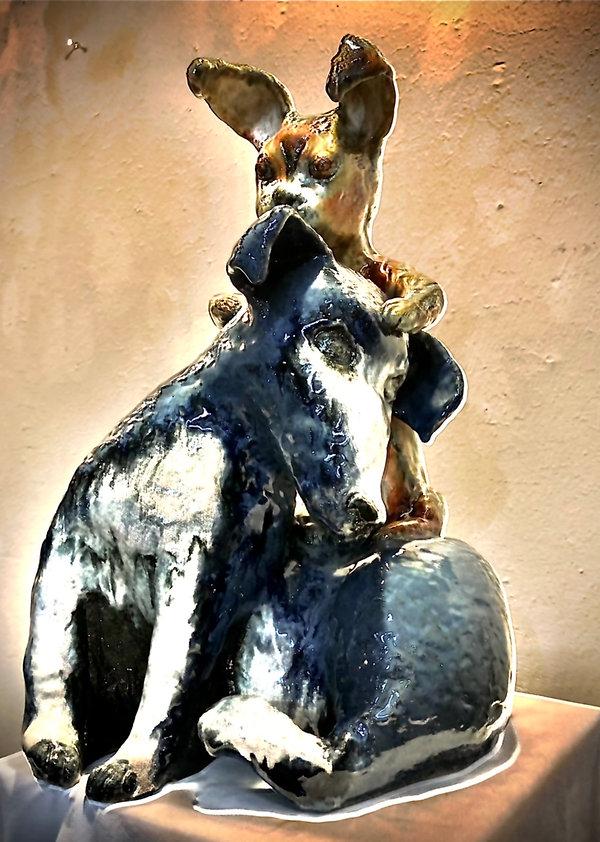 She Had a Wild Hare. Ceramic sculpture by Lora Nava.