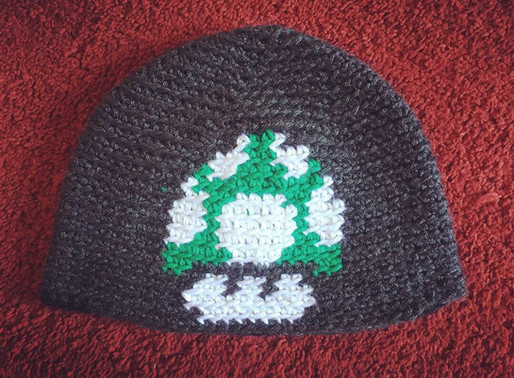 Large 1-UP Mushroom Beanie Pattern