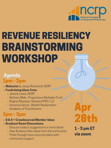 Flyer for NCRP's Revenue Resiliency Brainstorming Workshop
