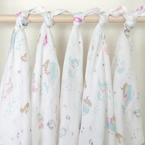 ผ้าอ้อมมัสลินใยไผ่ L แพ็ค 5 ผืน :: Mermaid