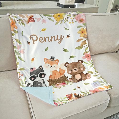 Nap with Me ผ้าห่มเด็กสั่งพิมพ์ชื่อ | N16-Woodland Friends