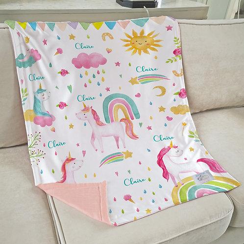Nap with Me ผ้าห่มเด็กสั่งพิมพ์ชื่อ | N5-Unicorn
