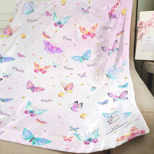 Nap with Me ผ้าห่มเด็กสั่งพิมพ์ชื่อ | N9-Butterflies