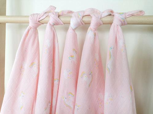 ผ้าอ้อมมัสลินใยไผ่ L แพ็ค 5 ผืน :: Unicorn