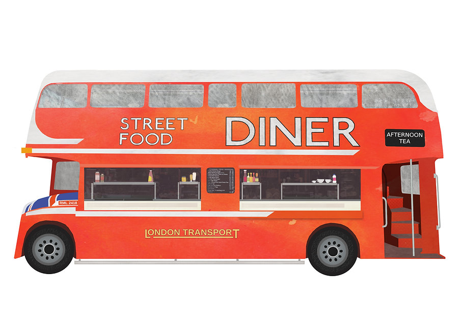 Illustration of street food bus on Albert Dock, Liverpool