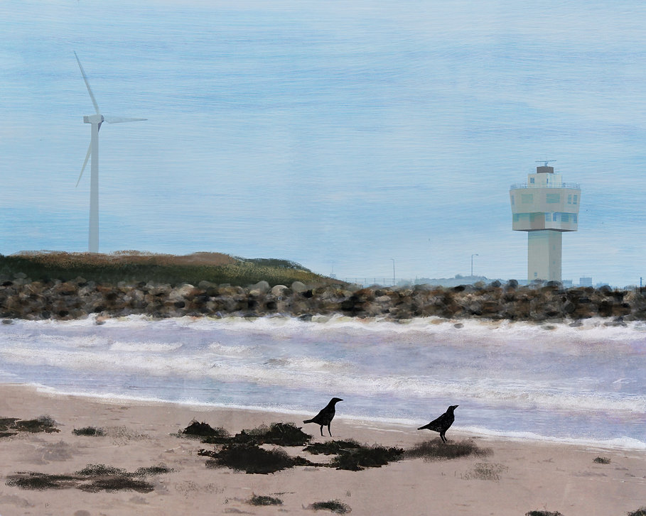 Illustration of Crosby beach, Liverpool