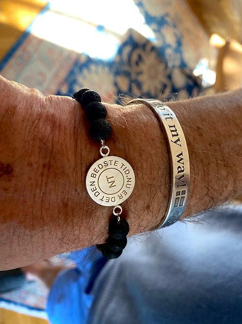 Lavastein Armband mit Sterling Silber Amulett