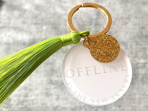 """Schlüsselanhänger mit Quaste """"Offline"""""""