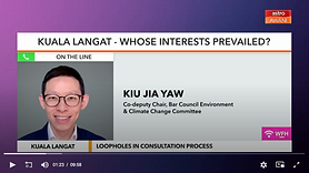 Astro's anchors speak with Jia Yaw following the Selangor government's decision this evening to re-gazette the KLNFR and scrap its controversial development plans.