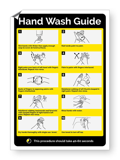 """""""Hand Wash Guide"""" (Chevron Collection)"""
