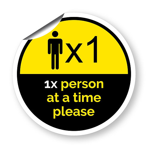 """1 person at a time"" roundel (Chevron Collection)"