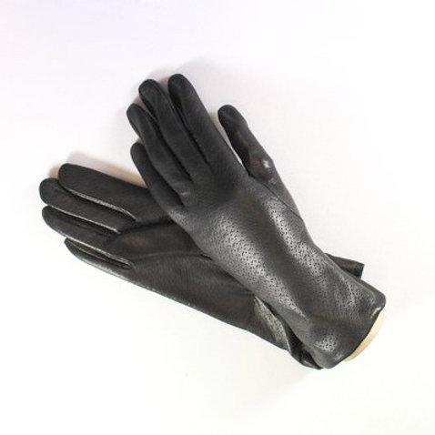 Guanto in morbida pelle con stampa cinghiale lungo cm.29, fodera lana