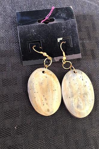 Oval Horn Earrings
