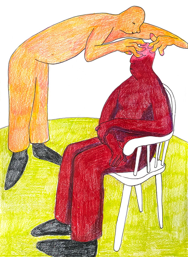 """Edward Hardebeck Mmmm Colored Pencil, Pen, Paper 12"""" x 9"""""""