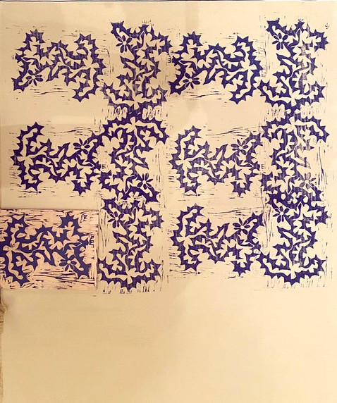 Kathleen Quaintance Thorny Pattern Woodcut print on denim 2.5' x 4'