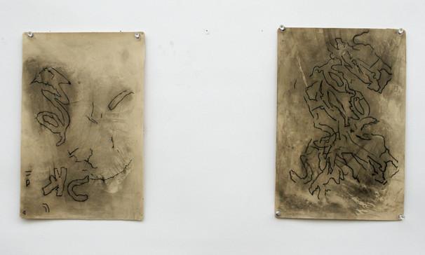 "Haley Johnson Sweet Spots (I & II) Ink tattooed on latex 12"" x 8"" each"