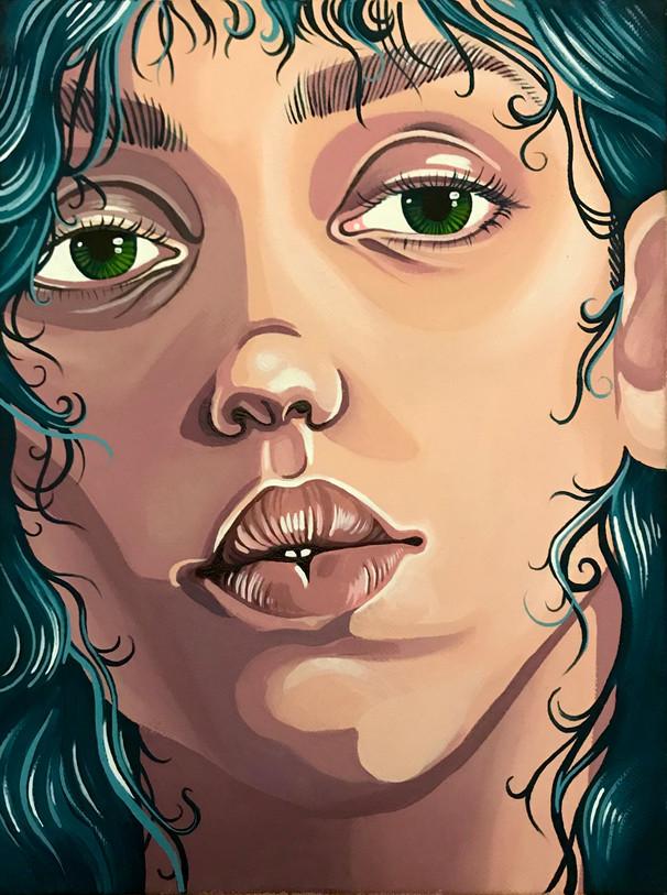"Leah Hewlings Green Eyes Acrylic on Canvas 12"" x 9"""