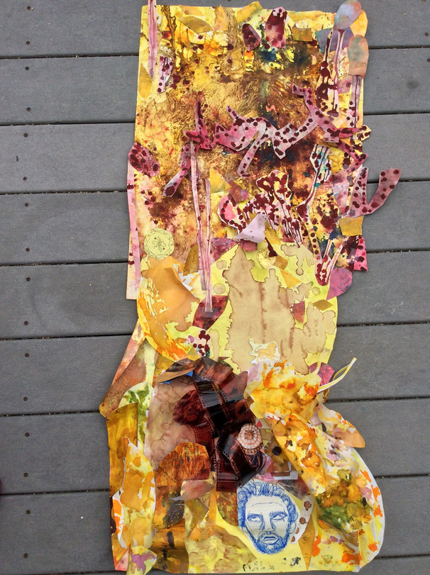 """Julia Damore-Rome Well Now  A collage made with various types of cut-up papers that have been treated with coffee grounds, water, paint, watercolor, and ink, as well as found brown film strips.   42"""" x 16""""  All works still in semi-progress"""