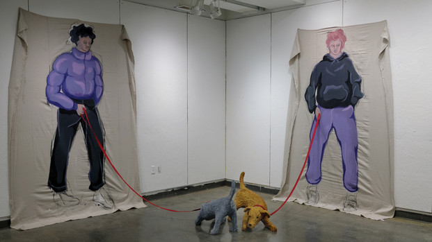 Edward Hardebeck you walk my social dog Dropcloth, Acrylic Paint, Plaster, Webbing 8' x 3'