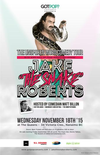 Jake The Snake Roberts Nanaimo BC Event Poster November 2015