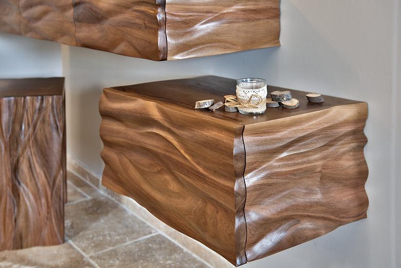 Caisson sculpté en bois de Noyer massif. Caisson design en console. By French Designer : MarKus Furniture