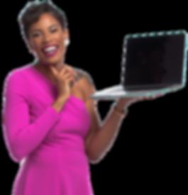 Dania Bernard Web Designer holding a laptop and smiling