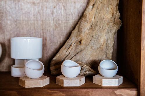 Handmade Porcelain Eggshell Cups with Wood Hexagon Tray