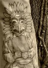Fusain et argile blanche sur toile de lin brut. Résidence Les Veilleurs de vent. Dans le cadre de la fête de la nature octobre 2020. Réserve naturelle régionale de La Massonne (17). Crédit photo : Viviane Moore