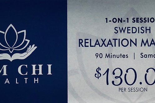 90 Minutes Swedish Relaxation Gift Certificate