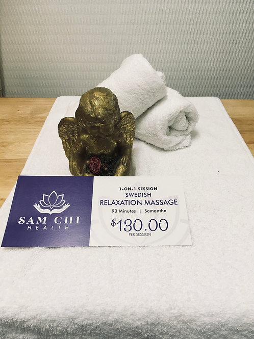 90 Minutes Swedish Relaxation Massage Gift Certificate