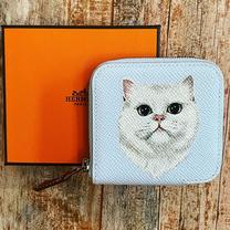 Custom painted Hermes wallet cat pet por