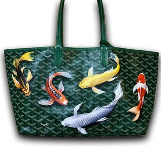 koi fish painted Goyard bag