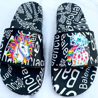 painted balenciaga slides