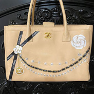 Painted Chanel bag pearls and ribbons