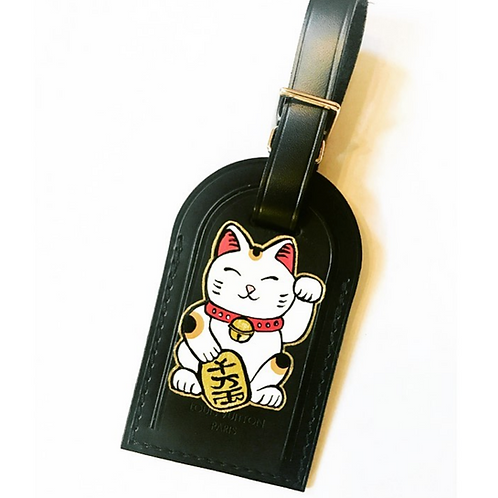 Lucky Cat hand painted Louis Vuitton luggage tag