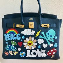 Hermes Birkin painted custom bag