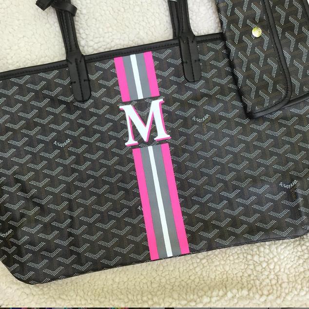 five stripes Goyard Monogram hot pink ba